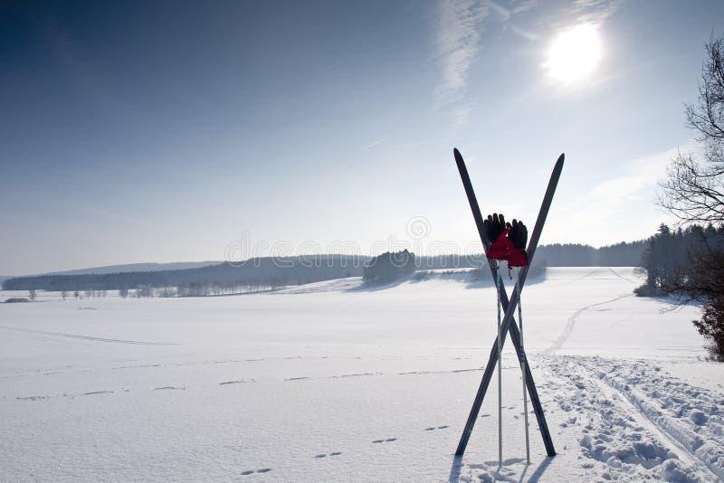 kraju krzyża narty ślad zdjęcie stock