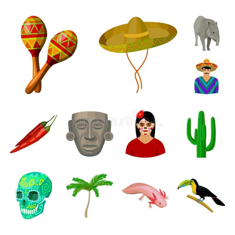 Kraju Meksyk kreskówki ikony w ustalonej kolekci dla projekta Meksyk i punktu zwrotnego wektorowy symbol zaopatruje sieci ilustra royalty ilustracja
