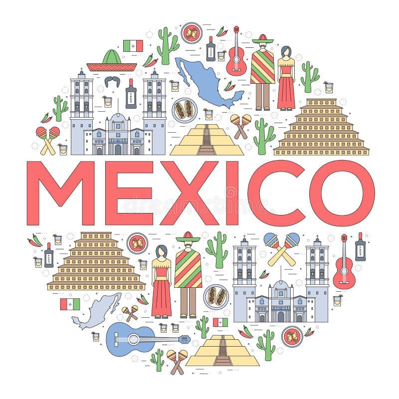 Kraju Meksyk podróży wakacje przewdonik towary, umieszcza i uwypukla Set architektura, jedzenie, moda, rzeczy, natura ilustracja wektor