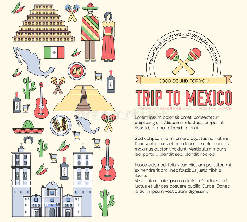 Kraju Meksyk podróży wakacje przewdonik towary, umieszcza i uwypukla Set architektura, jedzenie, moda, rzeczy, natura royalty ilustracja