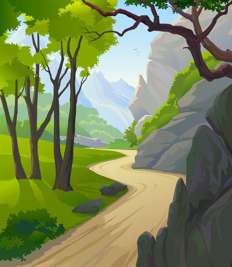 kraju wzgórzy osamotniona droga przemian strona ilustracji