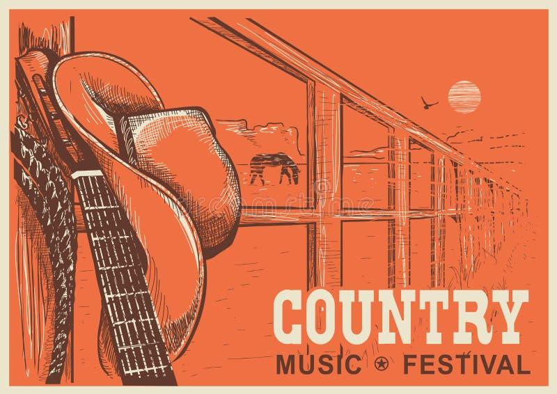 Kraju zachodniego muzyczny plakat z kowbojskim kapeluszem i muzyki gitarą ilustracji