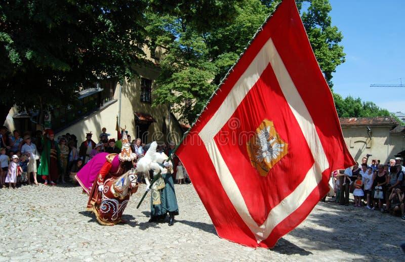 Kraków, Polonia: Procesión de Lajkonik imagen de archivo libre de regalías