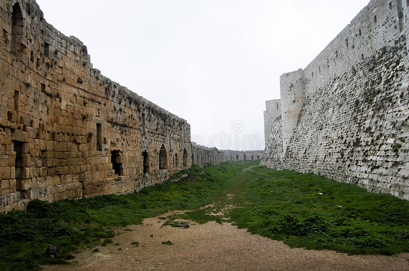 Krak des Chevaliers Castle - Syrië royalty-vrije stock afbeelding