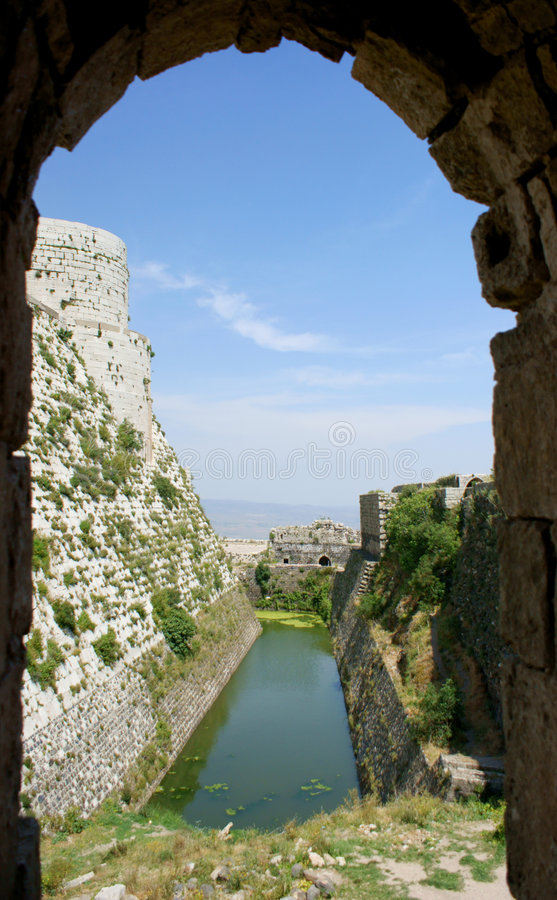 Krak des Chevaliers, crusaders fortress, Syria. Krak des Chevaliers, citadel tower, fortification castle walls , crusaders fortress, Syria royalty free stock photos