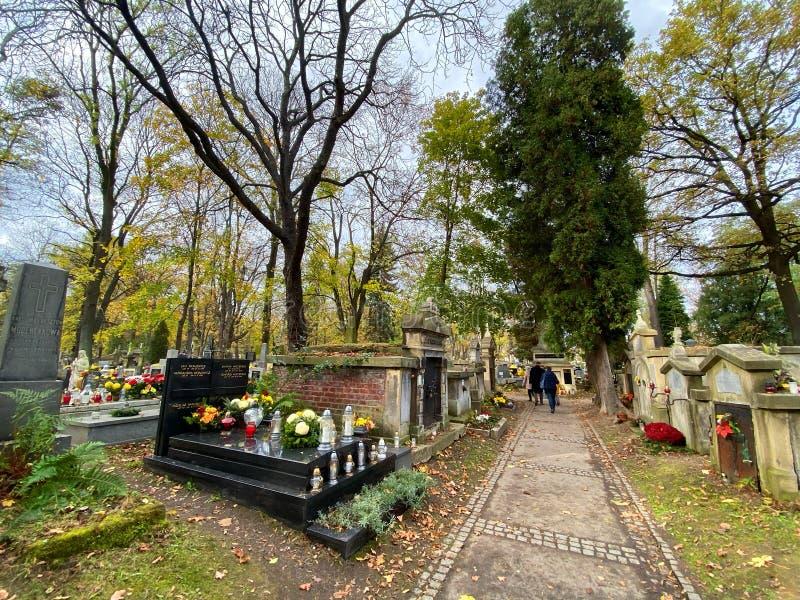 Krakau, historischer Friedhof stockbilder