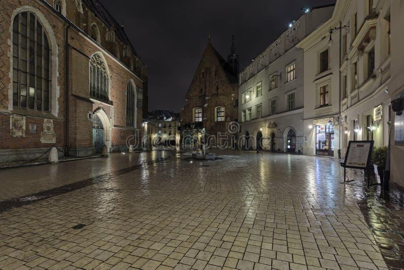 Krakau-Nacht lizenzfreies stockbild