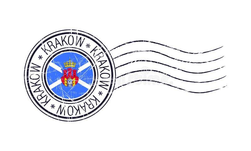 Krakau-Stadtschmutz-Poststempel lizenzfreie abbildung
