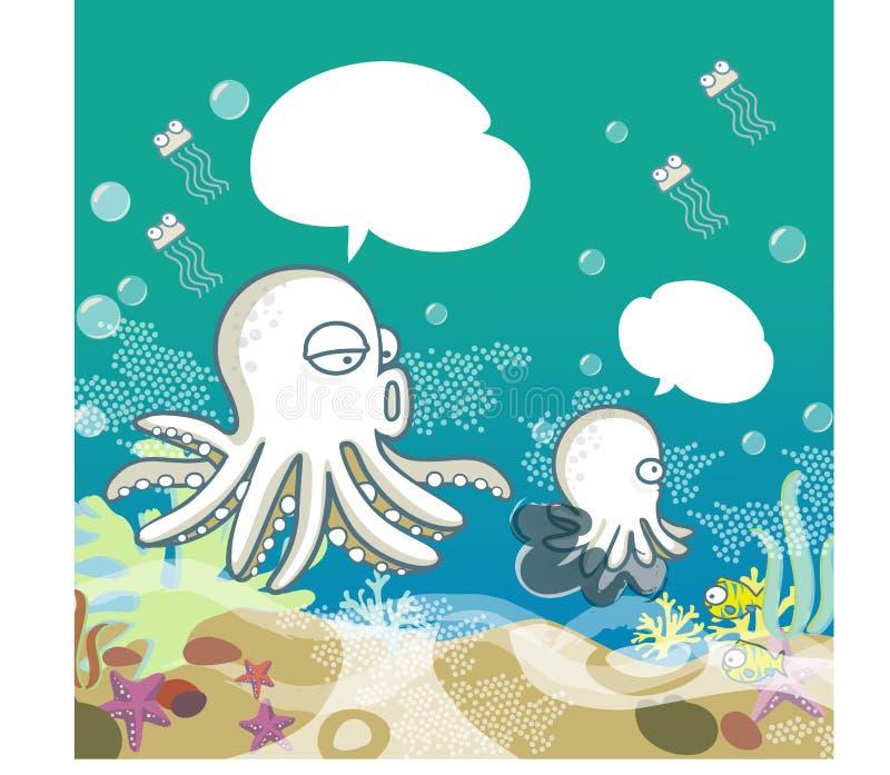 Krake Mom&Son und buntes Korallenriff im Ozean - Vektor stock abbildung