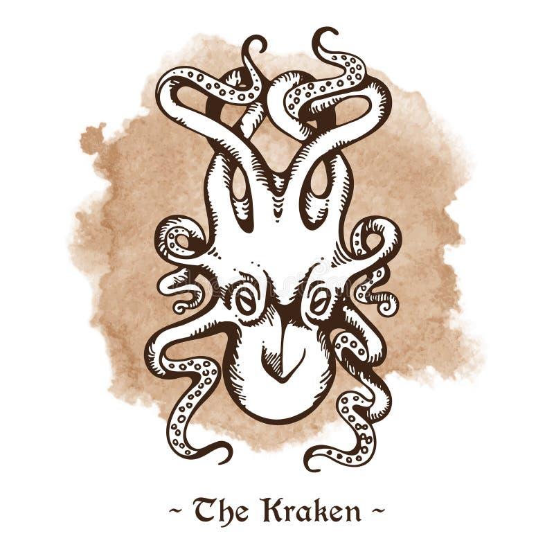 Kraken Вектор осьминога легендарного морского чудовища гигантский иллюстрация штока