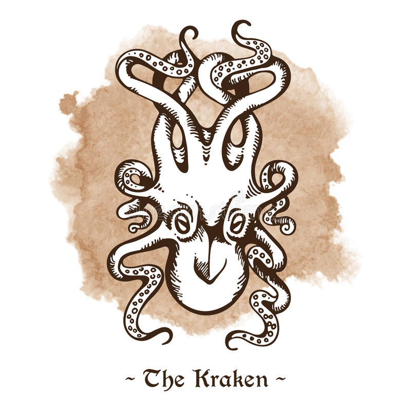 Kraken De legendarische van de overzeese vector monster reuzeoctopus stock illustratie