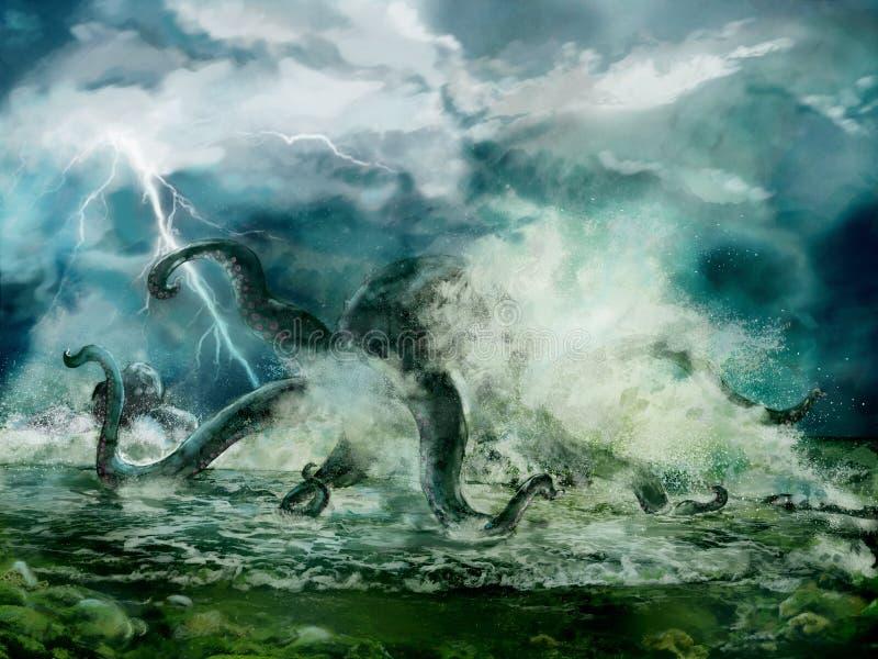 Kraken i havet stock illustrationer