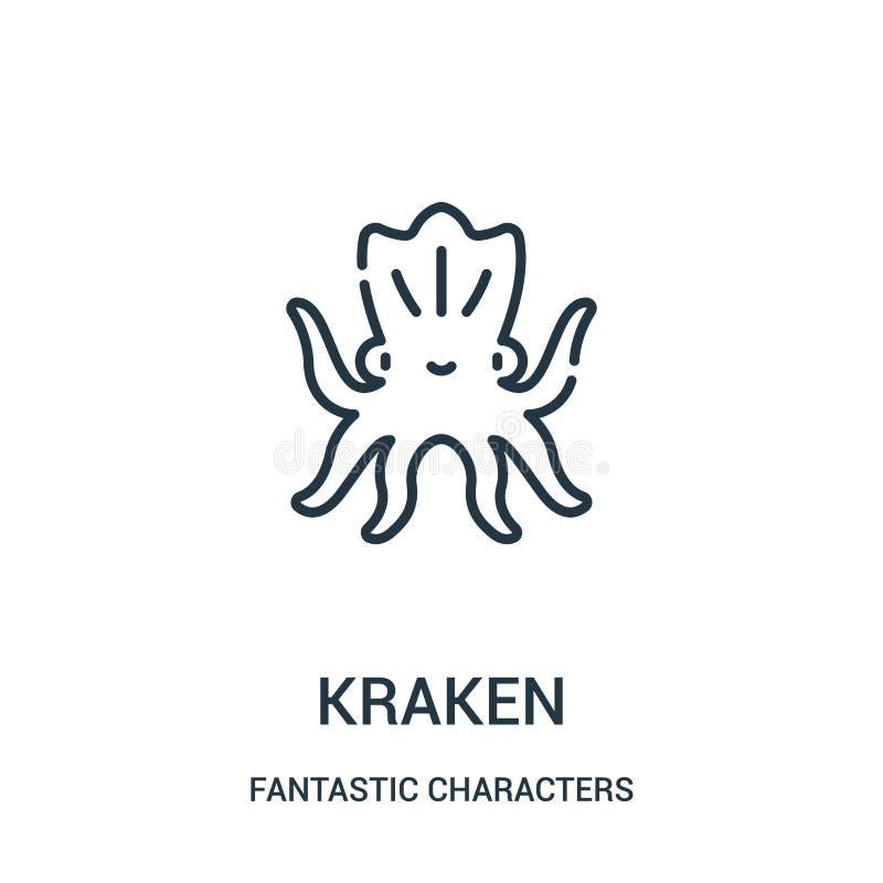kraken ikona wektor od fantastycznych charakterów inkasowych Cienka linia kraken kontur ikony wektoru ilustrację ilustracja wektor