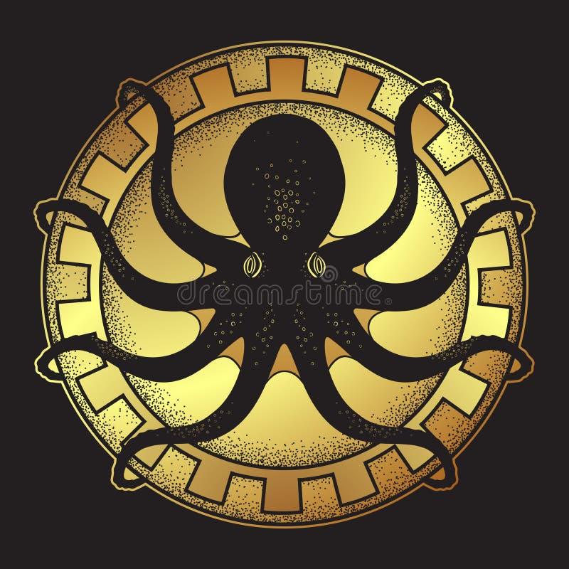 Kraken on shield hand drawn black and gold line art and dot work isolated vetor illustration stock illustration