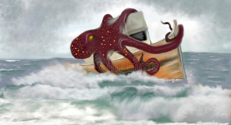 Kraken terror morza Kolorowi ilustracja wektor