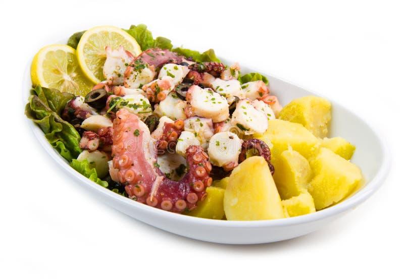 Krakensalat mit Kartoffeln lizenzfreies stockbild