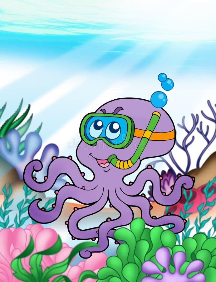 Kraketaucher Unterwasser lizenzfreie abbildung