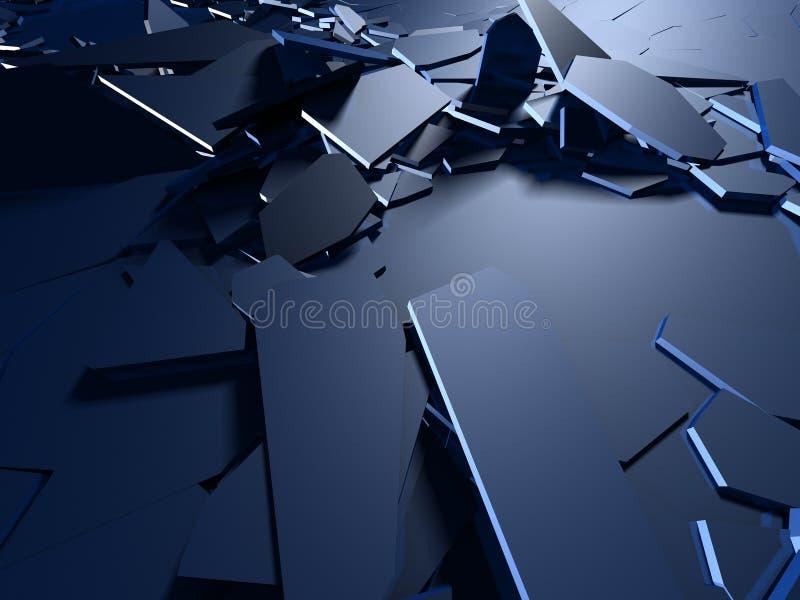 Krakingowa błękitna błyszcząca rozbiórka łamający nawierzchniowy tło royalty ilustracja