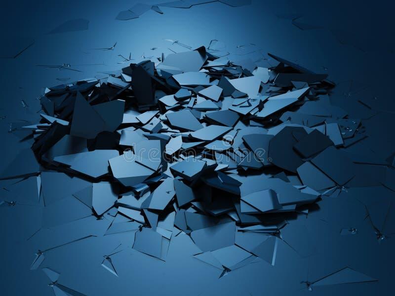 Krakingowa błękitna błyszcząca rozbiórka łamający nawierzchniowy tło ilustracji