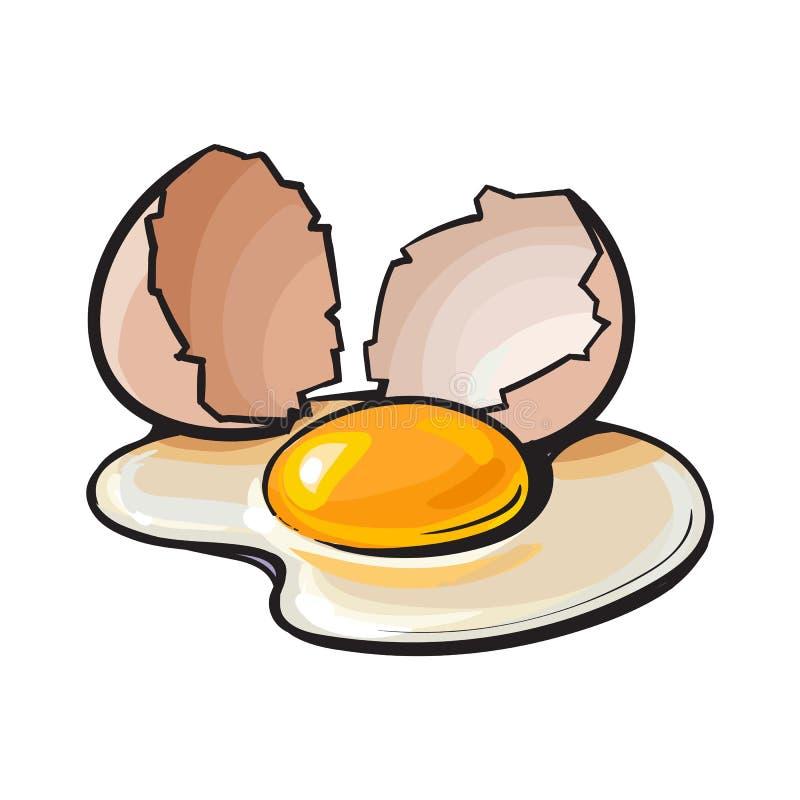 Krakingowy, łamający i rozlewający kurczaka jajko, nakreślenie stylowa wektorowa ilustracja ilustracja wektor