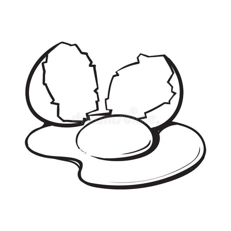 Krakingowy, łamający i rozlewający kurczaka jajko, nakreślenie stylowa wektorowa ilustracja ilustracji