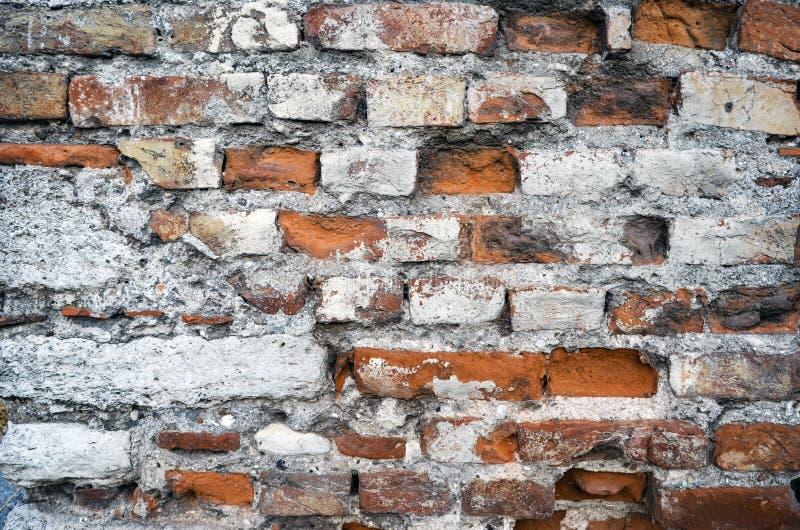 Krakingowy betonowy rocznika ściana z cegieł tło obraz stock