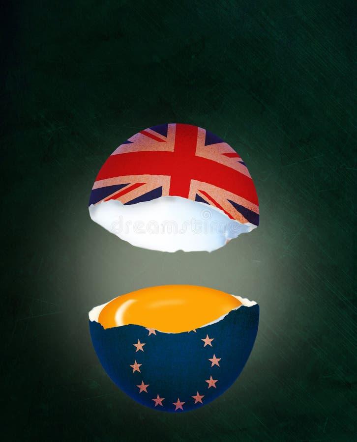 Krakingowy Eggshell Ilustruje Brexit korzyści w UE i pojęcie ilustracji