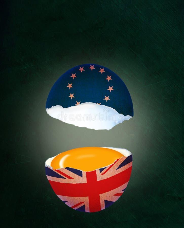 Krakingowy Eggshell Ilustruje Brexit korzyści w UK i pojęcie royalty ilustracja