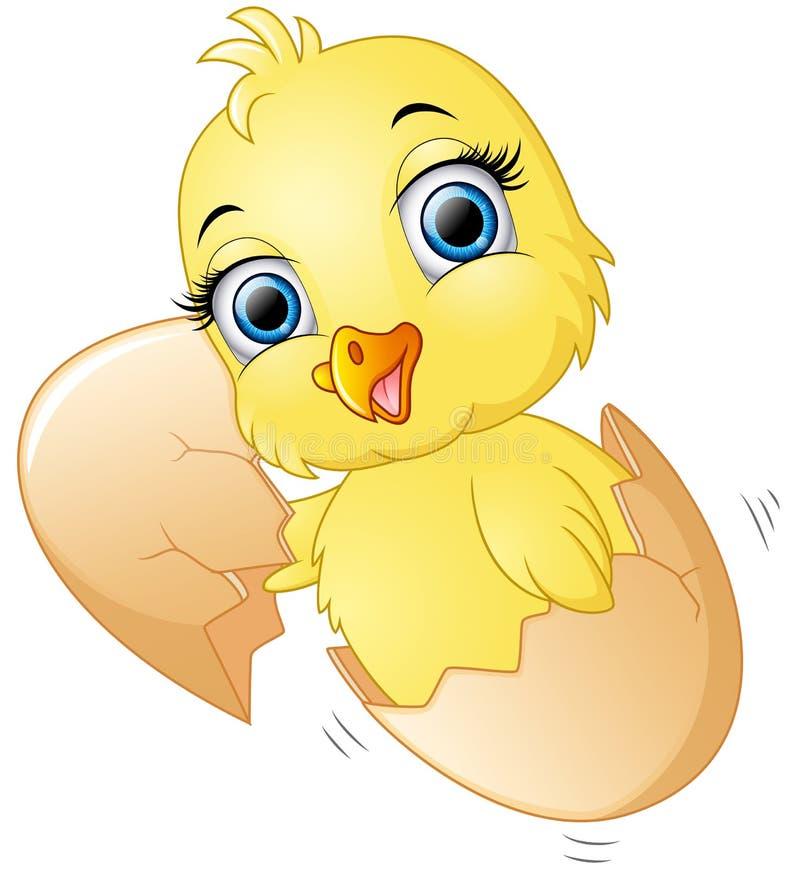 Krakingowy jajko z ślicznymi kurczątkami inside ilustracji