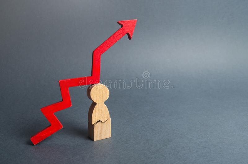 Krakingowy mężczyzna i czerwieni strzała w górę Wysoka obciążenia pracą lub czasu sytuacja w domu Obniżona żywotność, szkoda zdro zdjęcia stock