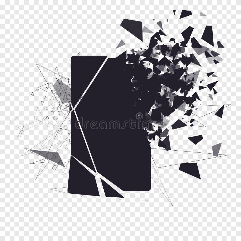 Krakingowy telefonu ekran rozbija w kawałki Łamany smartphone rozszczepiający wybuchem Pokaz telefon rozbijający nowoczesne urząd royalty ilustracja
