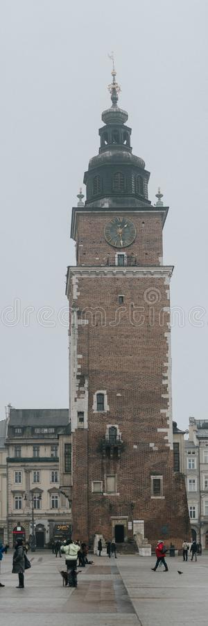 KRAKOV, POLAND - DECEMBER 23, 2017: Church of St. Mary in the main Market Square. Basilica Mariacka. Krakow Poland stock images