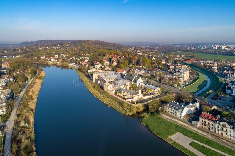 krakow Польша Вид с воздуха района и Norbertine Salwator стоковая фотография
