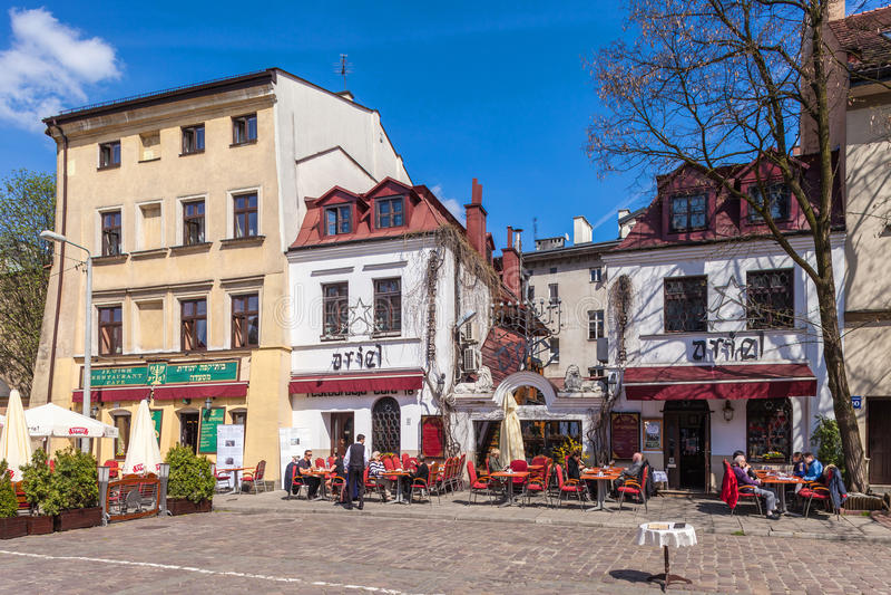krakow Польша Улица Szeroka, еврейский район Kazimierz стоковое фото rf