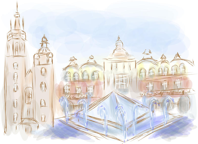 Krakow. Abstract city on a multicolor background stock illustration