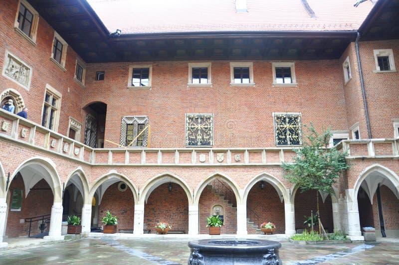 Krakow August 19,2014:The University Jagiellonskiego courtyard in Krakow,Poland royalty free stock images