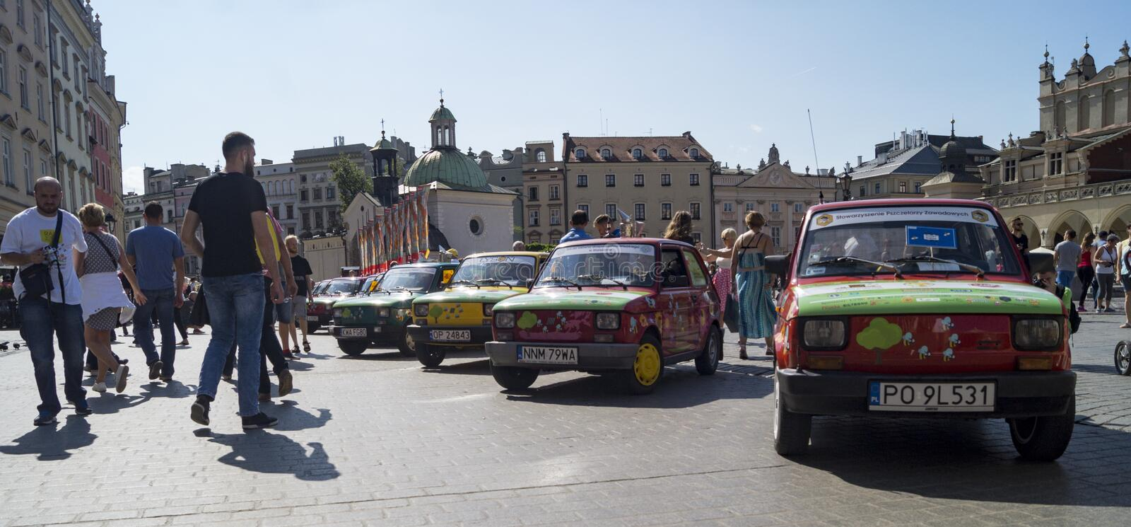 126 in krakow. `Bees will survive when flowers pollinate` under such a slogan to take a rally in Poland to defend bees. Fiat 126 in krakow stock image