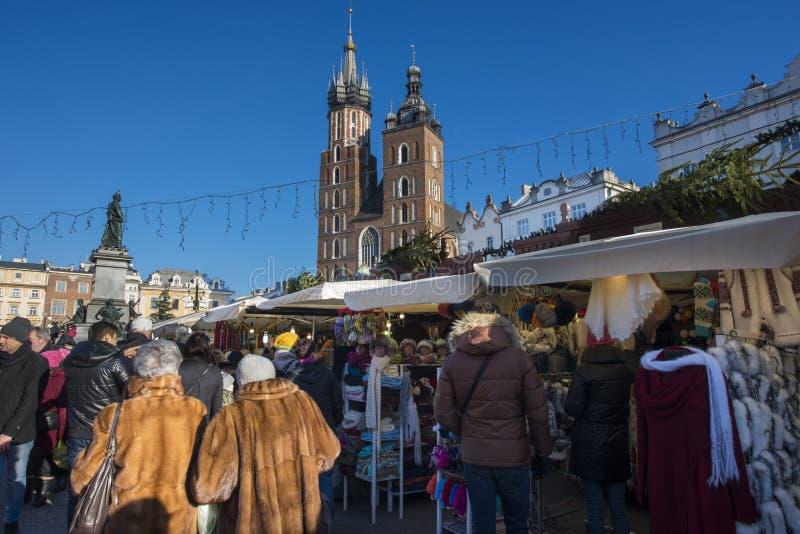 Krakow Christmas Market 2017. KRAKOW, POLAND - DECEMBER 10, 2017: Annual Christmas market in Krakow`s medieval Old Town Main Market Square stock images