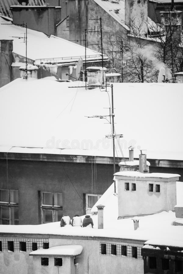 Krakow in Christmas time, aerial view on snowy roofs in central part of city. BW photo. Poland. Europe.  stock photography