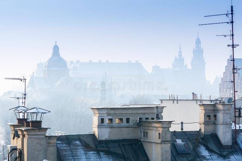 Krakow in Christmas time, aerial view on snowy roofs in central part of city. Wawel Castle and the Cathedral. Poland. Europe stock photos