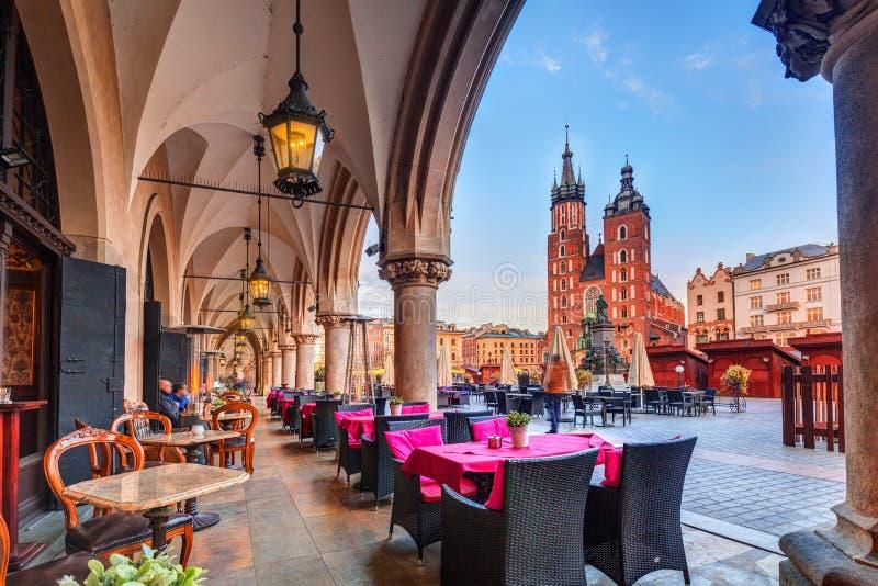 Krakow cloth hall and St. Mary Basilica royalty free stock photos