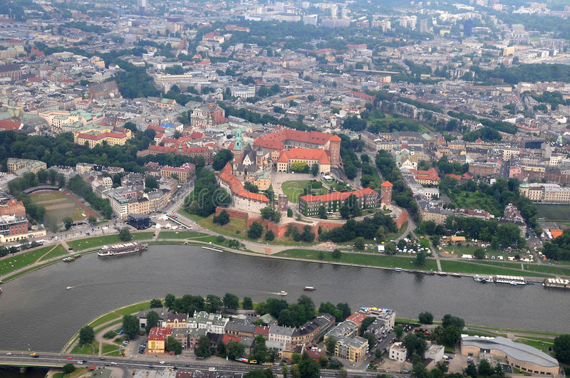 Krakow - Cracow aerial view royalty free stock image