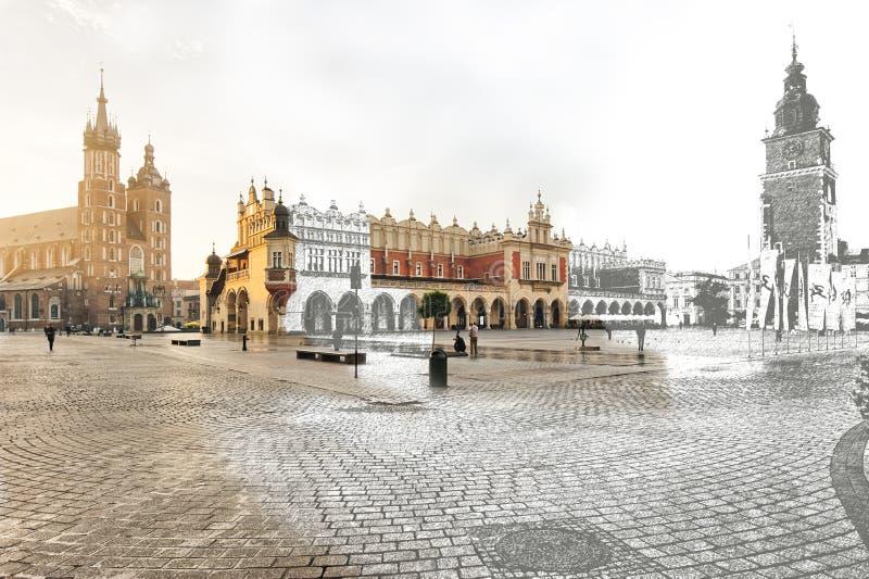 Krakow, Główny Targowy kwadrat, połówka nakreślenie przyrodniego obrazka obrazy stock