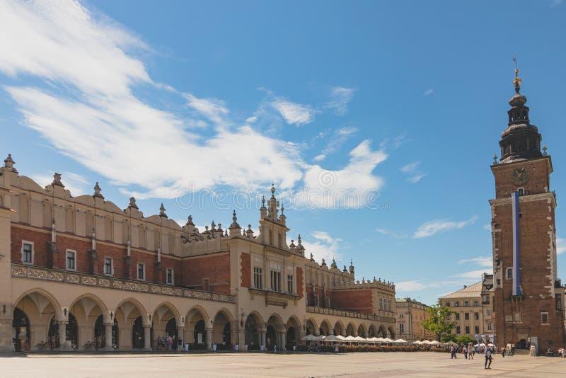 Krakow główny targowy kwadrat przy lato czasem obraz stock