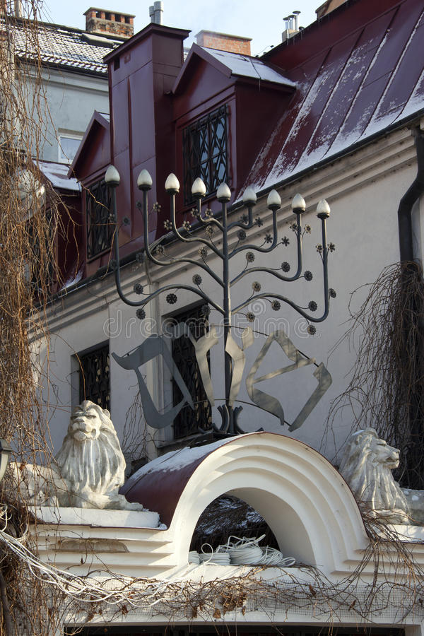 krakow gammal poland synagoga royaltyfri bild