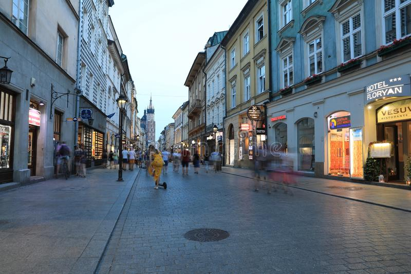 KRAKOW - JUN 15:Classic street nigjt life in Krakow  15 June 2019, Poland. Krakow is one of the most populated metropolitanareas stock photos