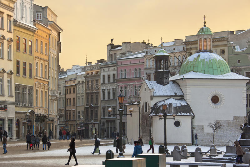 Krakow - kyrka för St Adalbert - Grodzka - Polen fotografering för bildbyråer