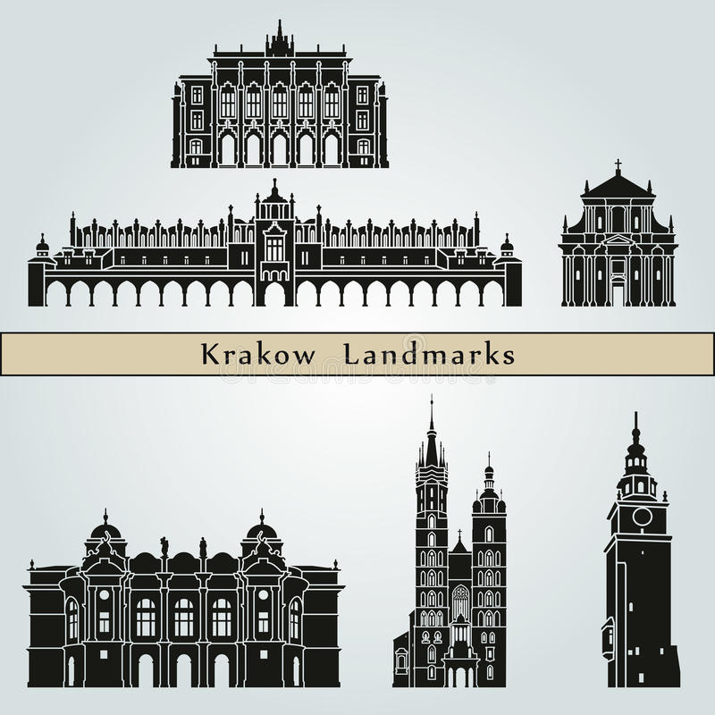 Krakow Landmarks. And monuments on blue background in editable vector file royalty free illustration