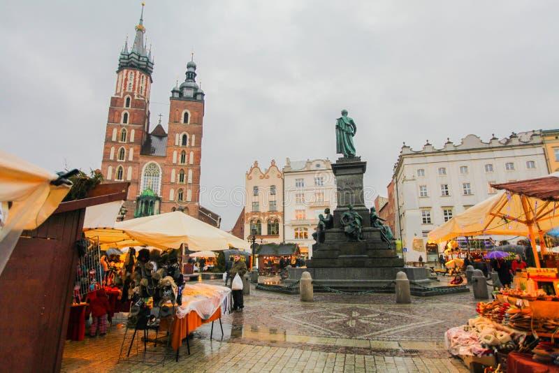 Krakow main square. With Christmas market royalty free stock photos