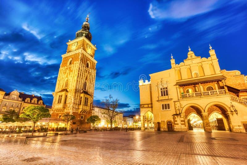 Krakow Main Square at Dusk, Krakow. Poland stock photography